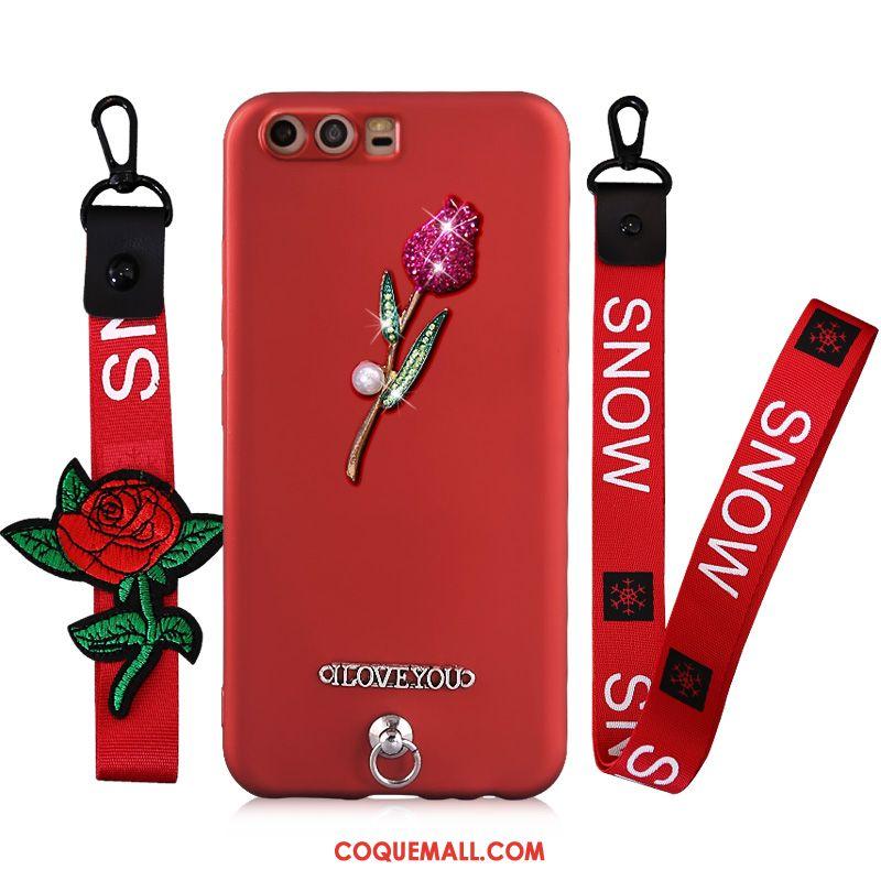 Étui Huawei P10 Fluide Doux Rouge Ornements Suspendus, Coque Huawei P10 Protection Téléphone Portable
