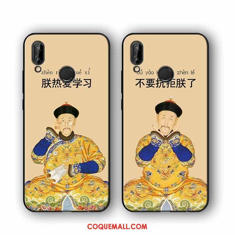 Étui Huawei P20 Lite Drôle Style Chinois Silicone, Coque Huawei P20 Lite Téléphone Portable Jaune