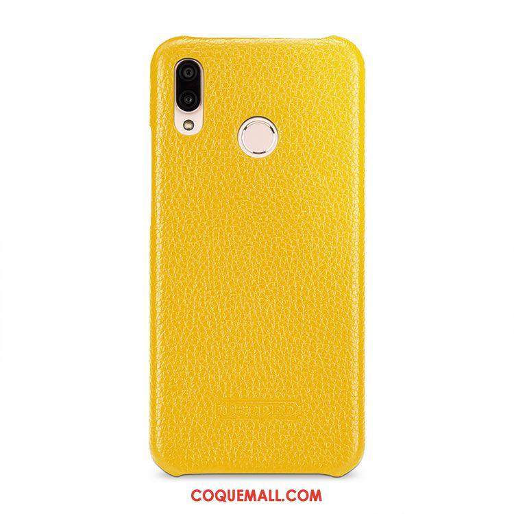 Étui Huawei P20 Lite Jaune Incassable Protection, Coque Huawei P20 Lite Cuir Véritable Étui En Cuir