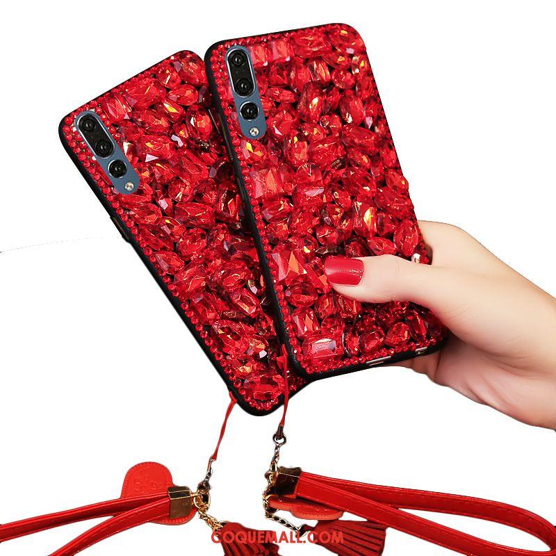 Étui Huawei P20 Pro Rouge Incruster Strass Fluide Doux, Coque Huawei P20 Pro Téléphone Portable Luxe