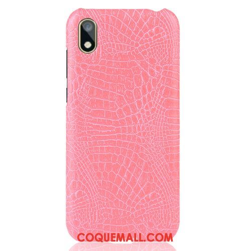 Étui Huawei Y5 2019 Difficile Business Vintage, Coque Huawei Y5 2019 Crocodile Modèle Rose