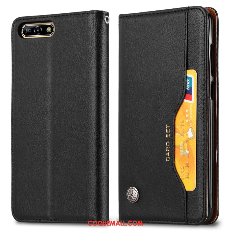 Étui Huawei Y6 2018 Étui En Cuir Protection Business, Coque Huawei Y6 2018 Vintage Automatique