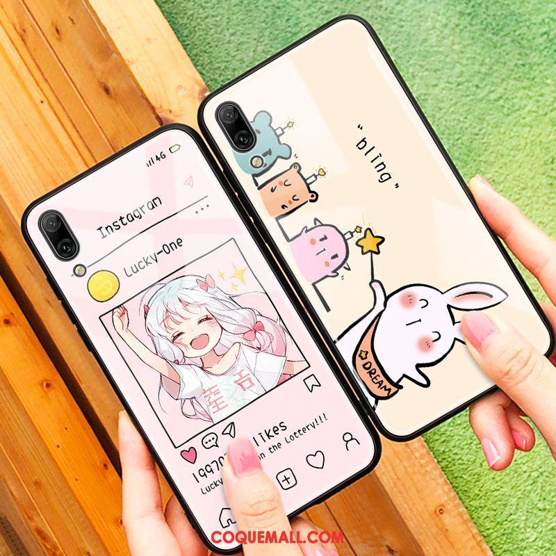 Étui Huawei Y6 2019 Tout Compris Protection Rose, Coque Huawei Y6 2019 Net Rouge Charmant