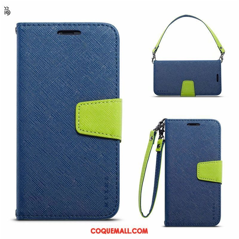 Étui Huawei Y6 Pro 2017 Bleu Simple Business, Coque Huawei Y6 Pro 2017 Étui En Cuir Incassable