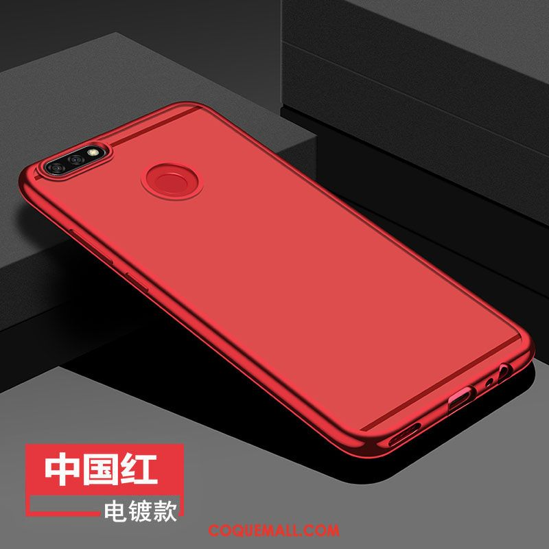 Étui Huawei Y7 2018 Protection Incassable Rouge, Coque Huawei Y7 2018 Silicone Anneau
