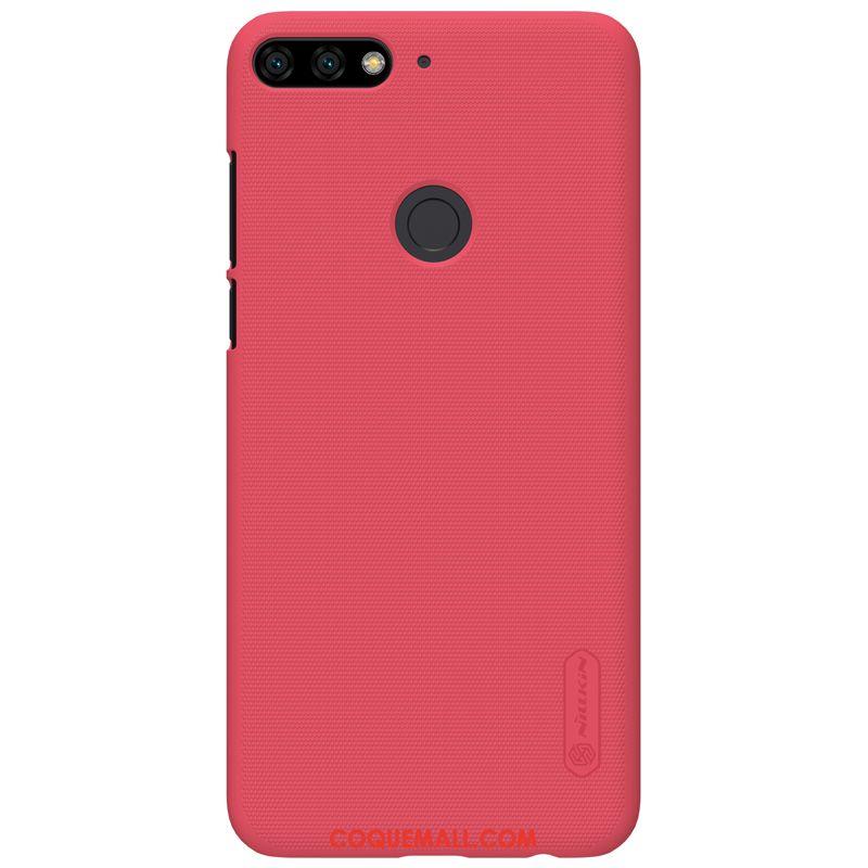 Étui Huawei Y7 2018 Téléphone Portable Protection Incassable, Coque Huawei Y7 2018 Rouge Résistant Aux Rayures