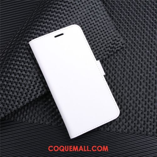 Étui Moto G8 Power Carte Portefeuille Blanc, Coque Moto G8 Power Business Téléphone Portable