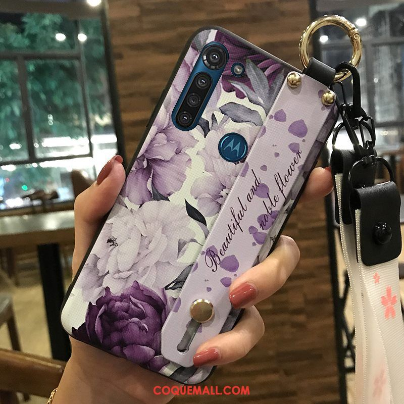 Étui Moto G8 Power Violet Fleur Support, Coque Moto G8 Power Protection Ornements Suspendus
