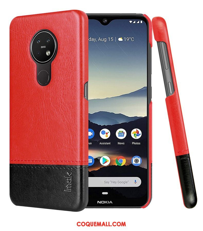 Étui Nokia 6.2 Simple Rouge Protection, Coque Nokia 6.2 En Cuir Cuir