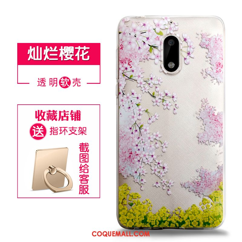 Étui Nokia 6 Gaufrage Transparent Rose, Coque Nokia 6 Fluide Doux Protection