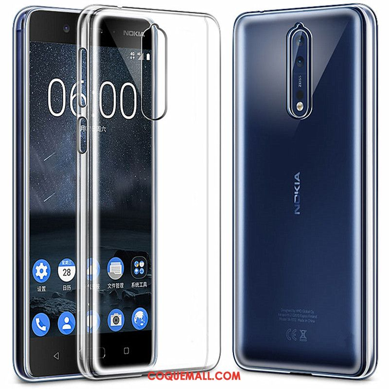 Étui Nokia 8 Silicone Simple Transparent, Coque Nokia 8 Protection Fluide Doux