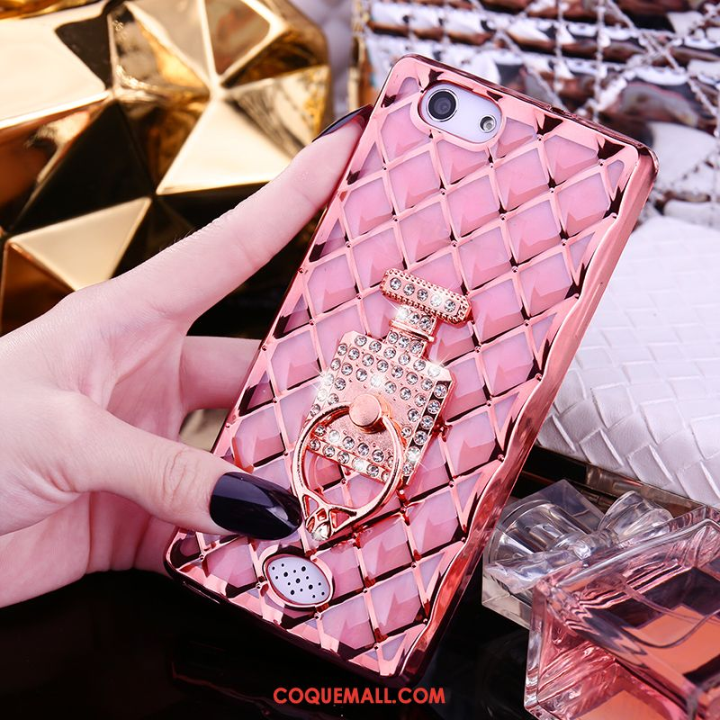Étui Oppo A31 Mode Or Renard, Coque Oppo A31 Rose Incruster Strass