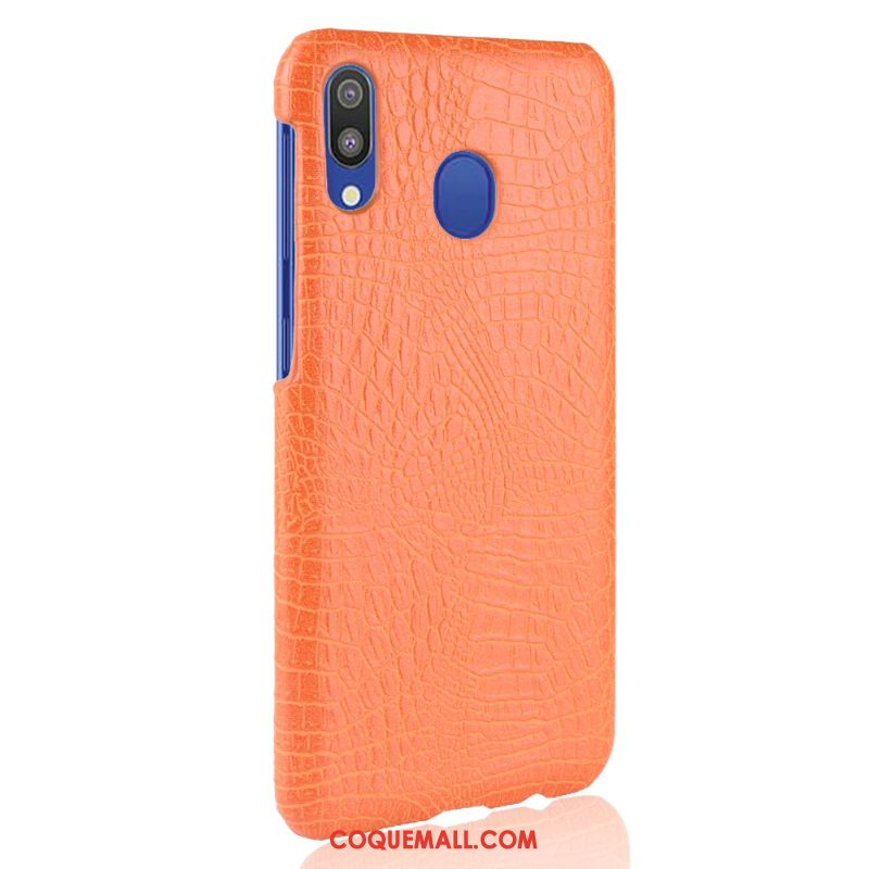 Étui Samsung Galaxy A20e Cuir Sac Qualité, Coque Samsung Galaxy A20e Difficile Crocodile Modèle Orange