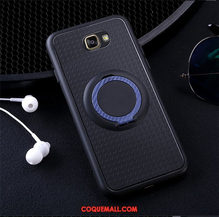 Étui Samsung Galaxy A5 2017 Silicone Fluide Doux Protection, Coque Samsung Galaxy A5 2017 Anneau Bleu