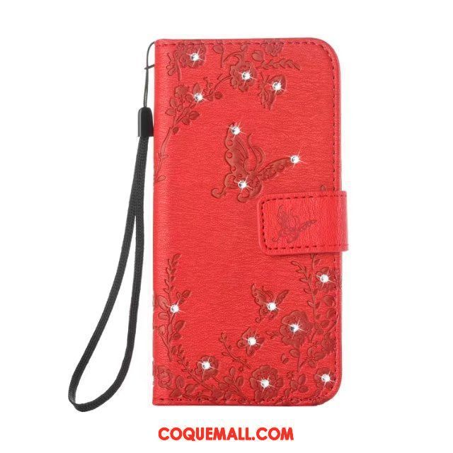Étui Samsung Galaxy Note 8 Rouge Protection Strass, Coque Samsung Galaxy Note 8 Étoile Étui En Cuir