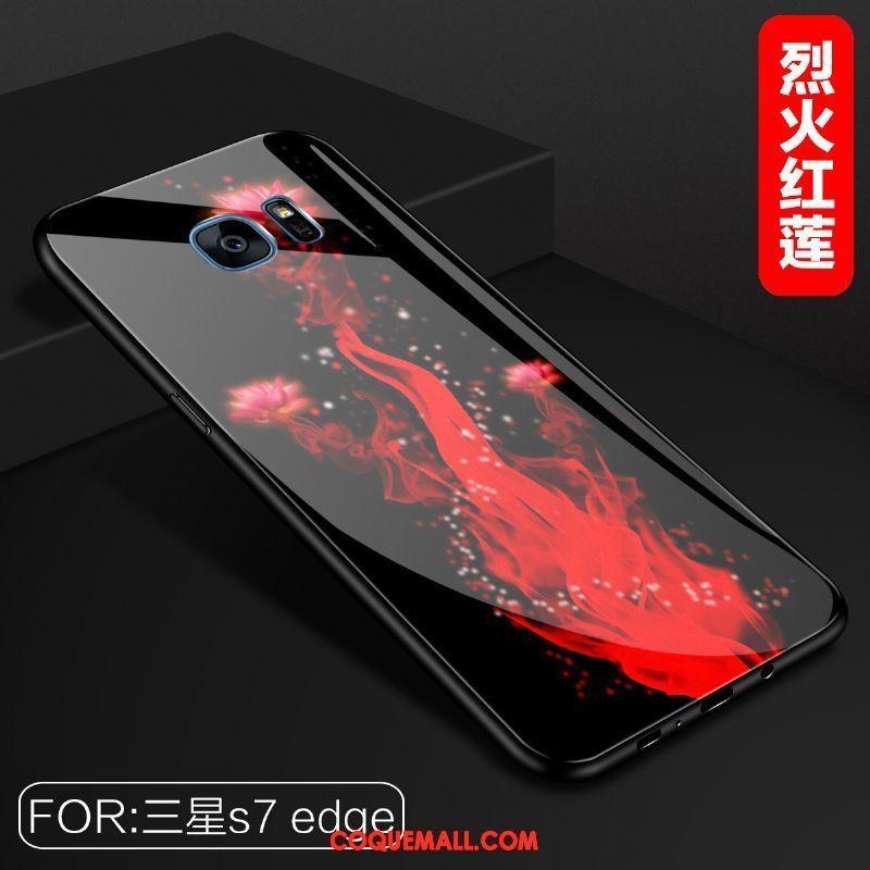 Étui Samsung Galaxy S7 Edge Créatif Téléphone Portable Tendance, Coque Samsung Galaxy S7 Edge Rouge Étoile