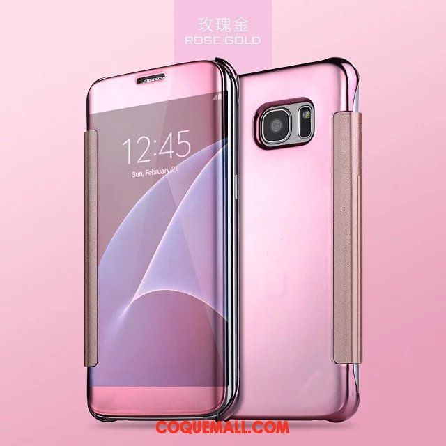 Étui Samsung Galaxy S7 Edge Protection Clamshell Rose, Coque Samsung Galaxy S7 Edge Nouveau Miroir