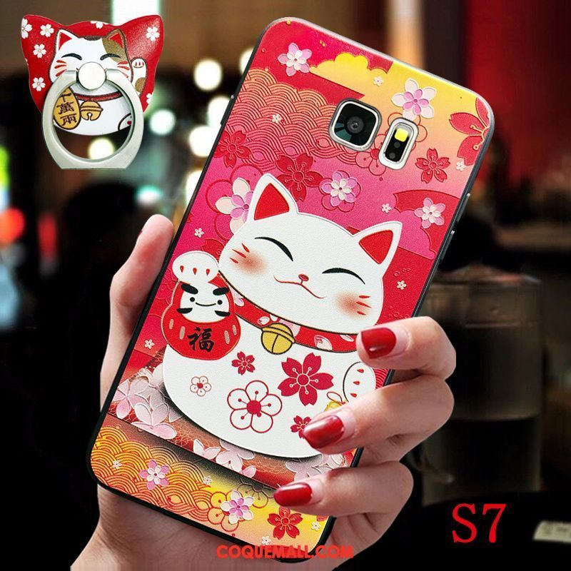 Étui Samsung Galaxy S7 Silicone Rouge Amoureux, Coque Samsung Galaxy S7 Support Richesse