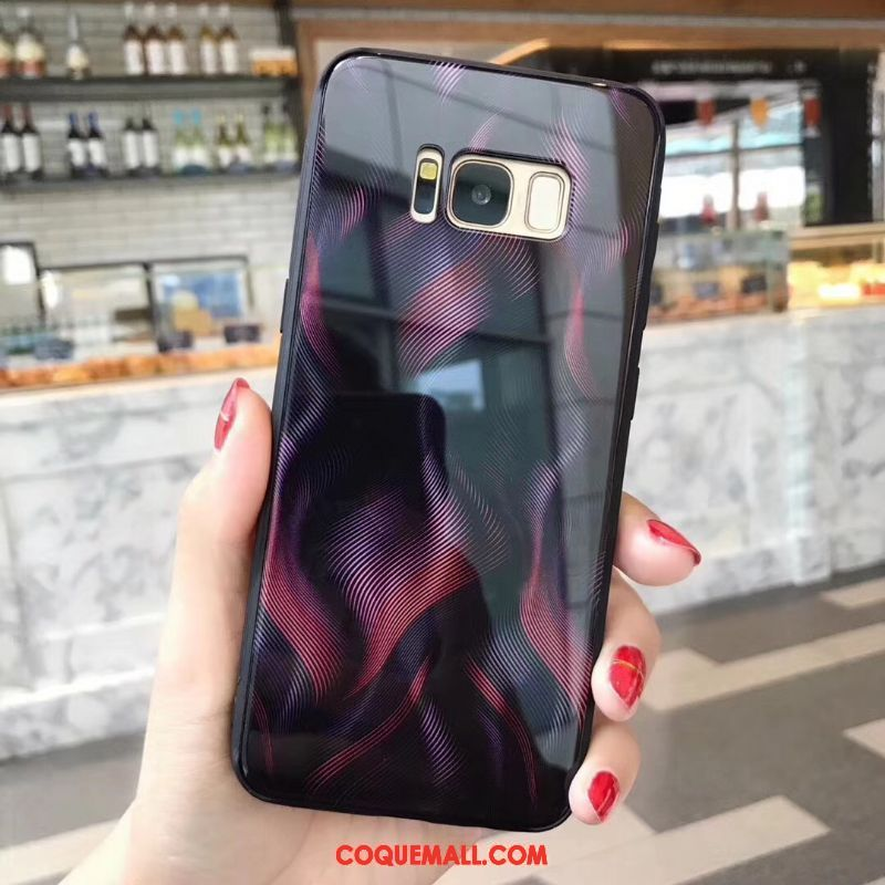 Étui Samsung Galaxy S8+ Verre Bleu Incassable, Coque Samsung Galaxy S8+ Silicone Multicolore
