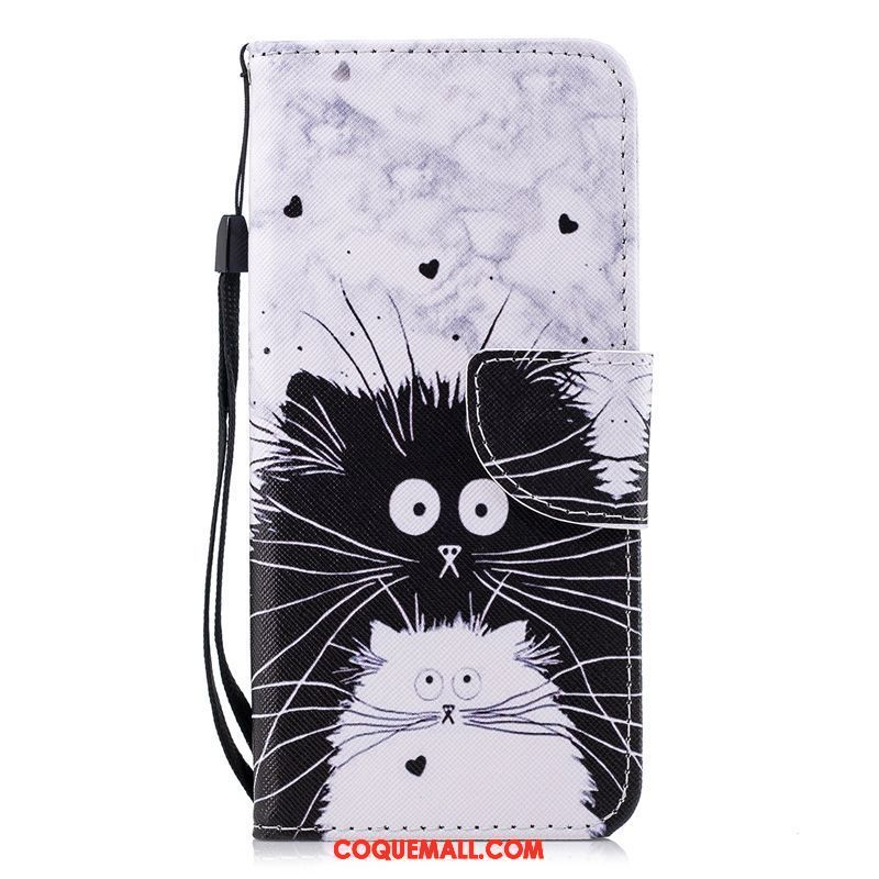 Étui Samsung Galaxy S9+ Protection Étoile Chat, Coque Samsung Galaxy S9+ Noir Blanc