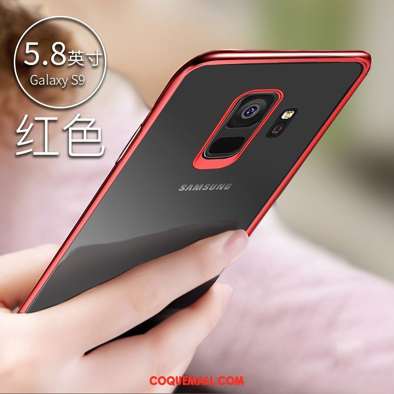 Étui Samsung Galaxy S9 Transparent Silicone Incassable, Coque Samsung Galaxy S9 Protection Rouge