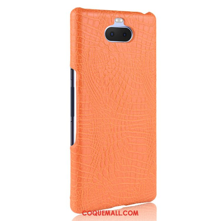Étui Sony Xperia 10 Crocodile Modèle Protection Difficile, Coque Sony Xperia 10 Qualité Cuir Orange