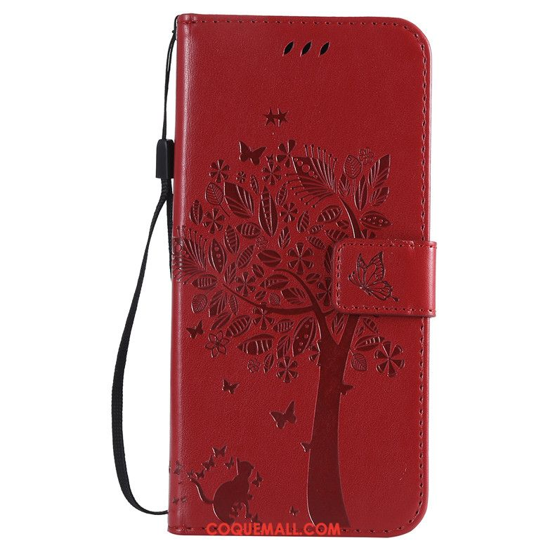 Étui Sony Xperia 10 Ii Clamshell Incassable Rouge, Coque Sony Xperia 10 Ii En Cuir Protection