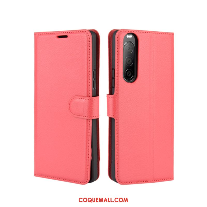 Étui Sony Xperia 10 Ii Protection Incassable Carte, Coque Sony Xperia 10 Ii En Cuir Rouge