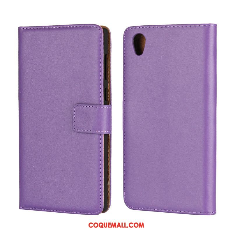 Étui Sony Xperia L1 Incassable Support Cuir Véritable, Coque Sony Xperia L1 Business Portefeuille