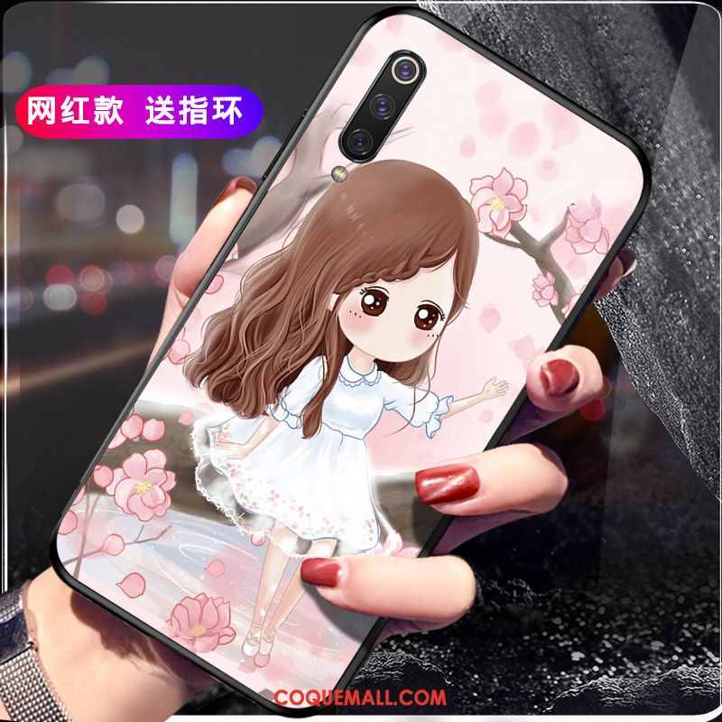 Étui Xiaomi Mi 9 Ornements Suspendus Incassable Net Rouge, Coque Xiaomi Mi 9 Rose Fluide Doux Beige