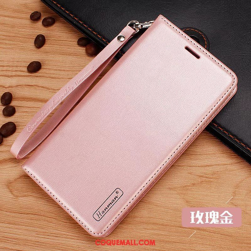 Étui Xiaomi Mi Mix 2s Protection Incassable Cuir Véritable, Coque Xiaomi Mi Mix 2s Petit Rose Beige