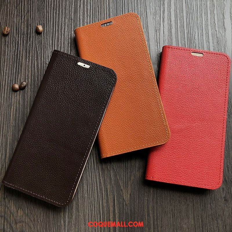 Étui Xiaomi Redmi 7a Protection Rouge Support, Coque Xiaomi Redmi 7a Clamshell Cuir Véritable Braun Beige