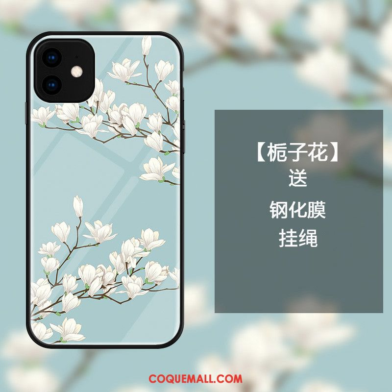 Étui iPhone 11 Incassable Fleur Ornements Suspendus, Coque iPhone 11 Bleu Petit