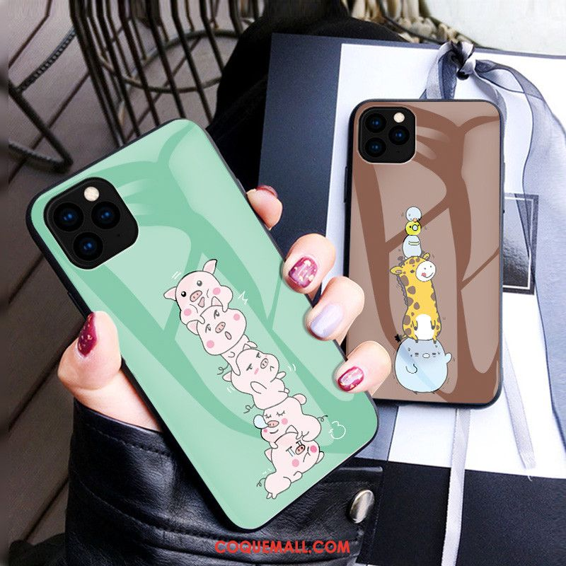 Étui iPhone 11 Pro Max Mode Chat Protection, Coque iPhone 11 Pro Max Vert Amoureux