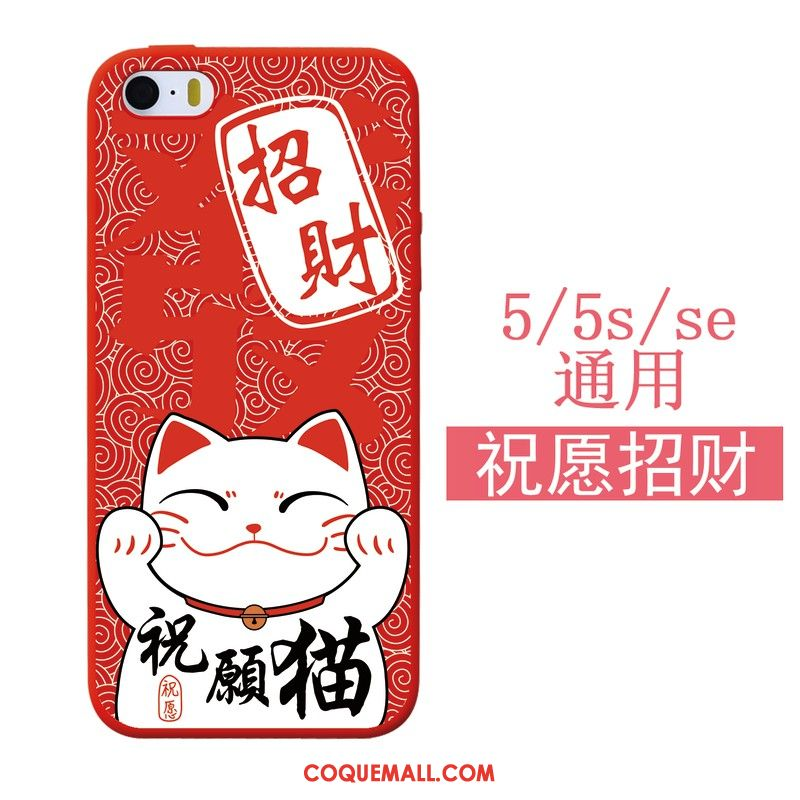 Étui iPhone 5 / 5s Chat Rouge Silicone, Coque iPhone 5 / 5s Fluide Doux Nouveau