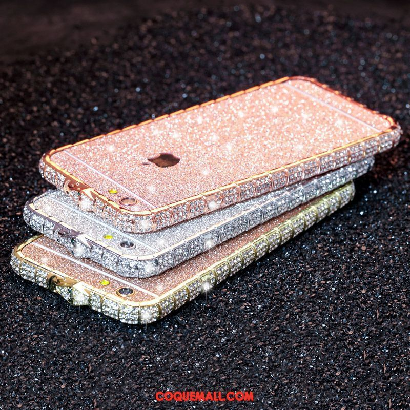 Étui iPhone 6 / 6s Strass Incassable Luxe, Coque iPhone 6 / 6s Border Or Rose