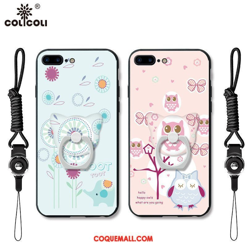 Étui iPhone 7 Gaufrage Support Ornements Suspendus, Coque iPhone 7 Téléphone Portable Rose