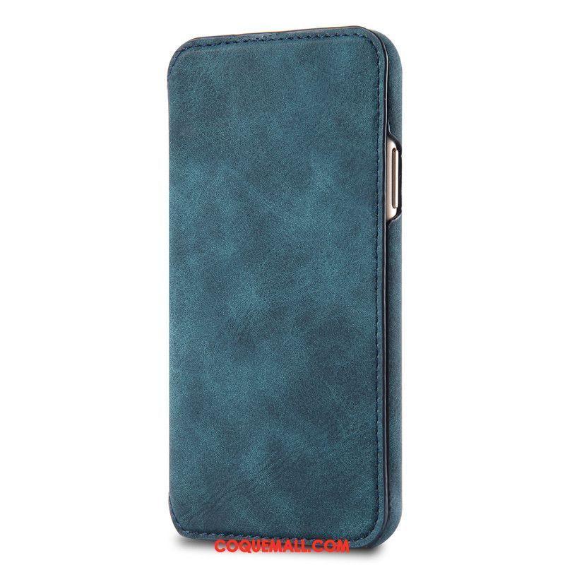 Étui iPhone 7 Plus Clamshell Étui En Cuir Téléphone Portable Coque iPhone 7 Plus Cuir Véritable Vert 649
