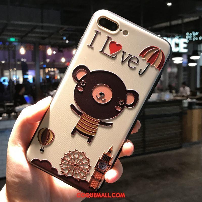 Étui iPhone 7 Plus Dimensionnel Petit Gaufrage Coque iPhone 7 Plus Amoureux Ours 720