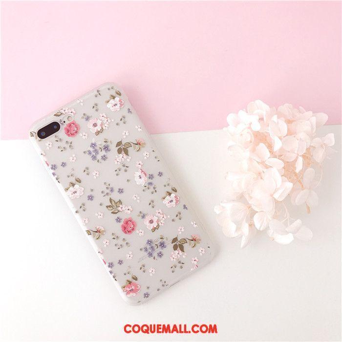 Étui iPhone 7 Plus Fleurs Délavé En Daim Très Mince Coque iPhone 7 Plus Petit Frais 736
