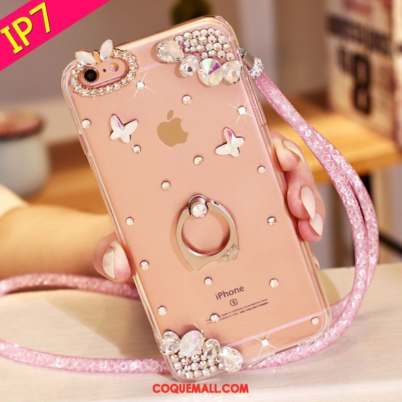 Étui iPhone 7 Support Rose Téléphone Portable, Coque iPhone 7 Strass Protection