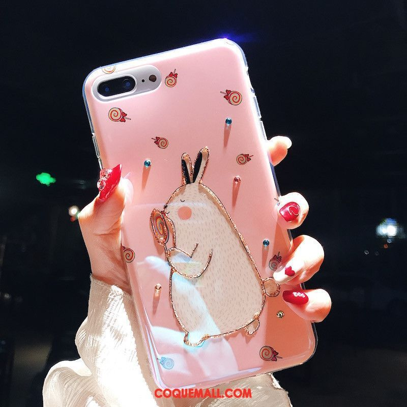 Étui iPhone 8 Plus Rose Charmant Silicone, Coque iPhone 8 Plus Protection Fluide Doux