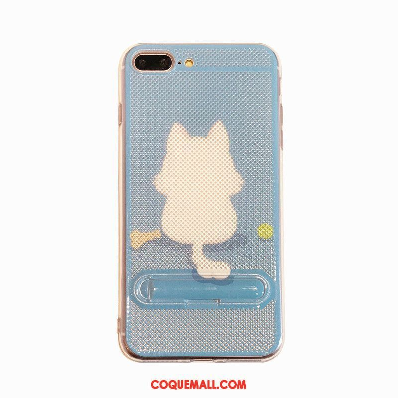 Étui iPhone 8 Plus Silicone Support Bleu, Coque iPhone 8 Plus Fluide Doux Mesh