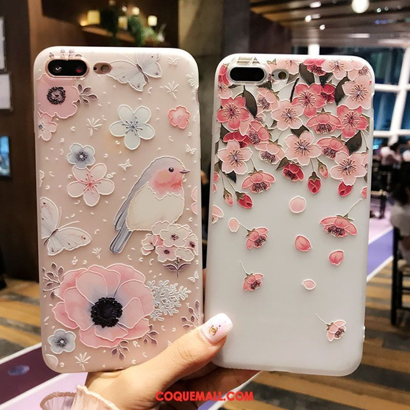 Étui iPhone 8 Plus Silicone Très Mince Cou Suspendu, Coque iPhone 8 Plus Rose Protection