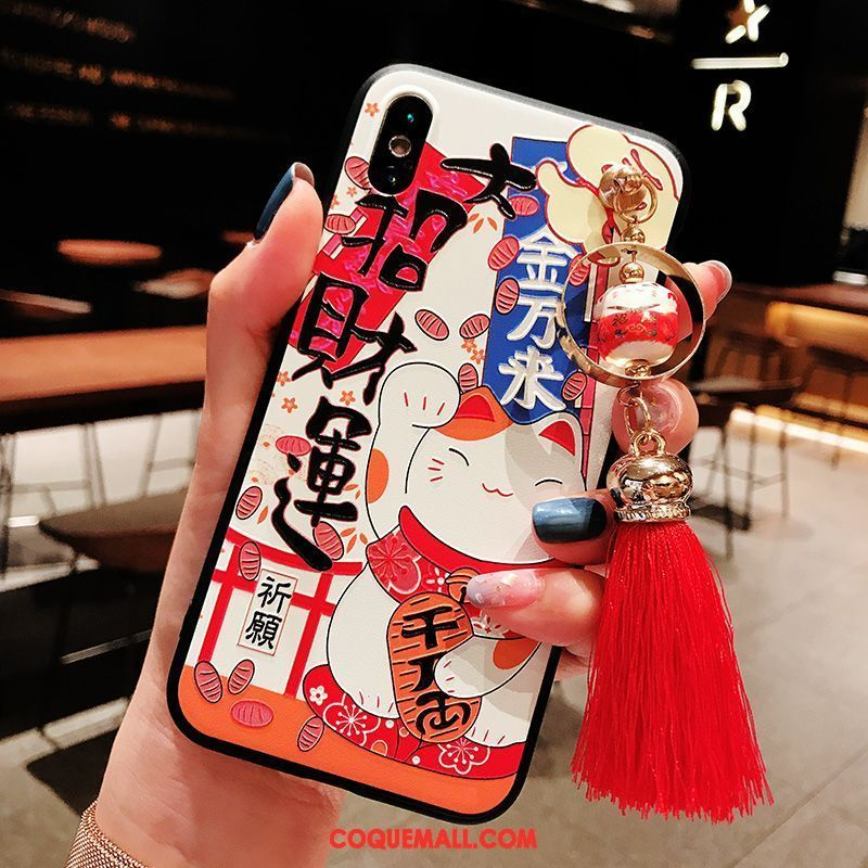 Étui iPhone Xs Dessin Animé Style Chinois Incassable, Coque iPhone Xs Net Rouge Silicone