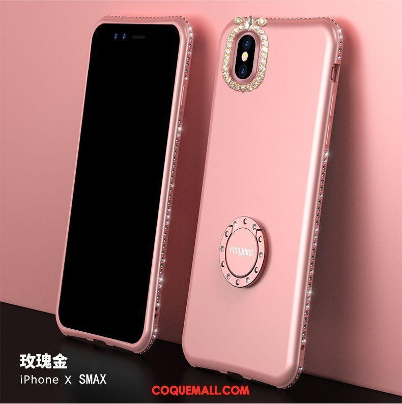 Étui iPhone Xs Max Téléphone Portable Net Rouge Délavé En Daim, Coque iPhone Xs Max Support Silicone