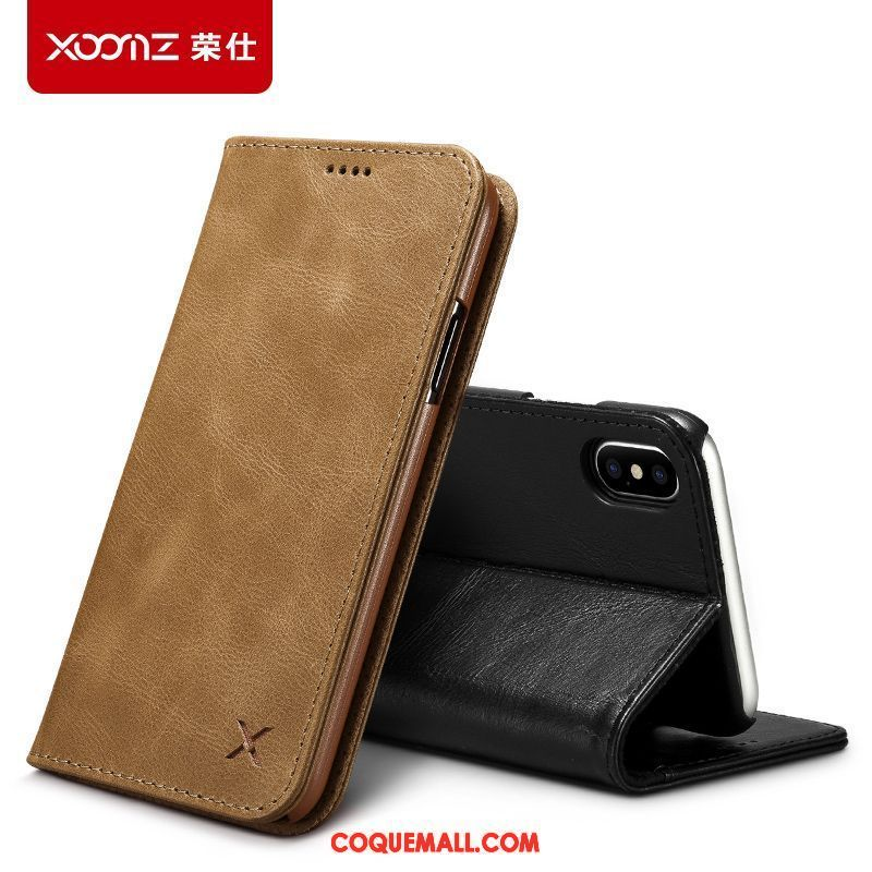 Étui iPhone Xs Qualité Incassable Nouveau, Coque iPhone Xs Téléphone Portable Cuir