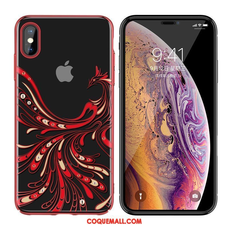Étui iPhone Xs Strass Transparent Placage, Coque iPhone Xs Amoureux Luxe