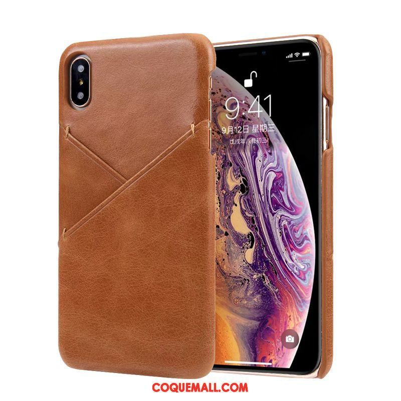 Étui iPhone Xs Téléphone Portable Business Incassable, Coque iPhone Xs Vintage Difficile Kamelfarbe